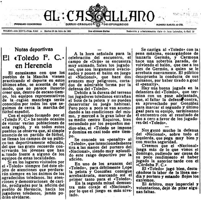El Castellano, Toledo, 28 de Julio de 1931