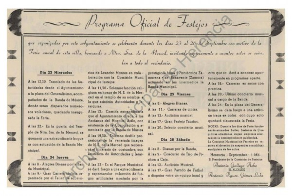 Programa Oficial de Festejos - Año 1964