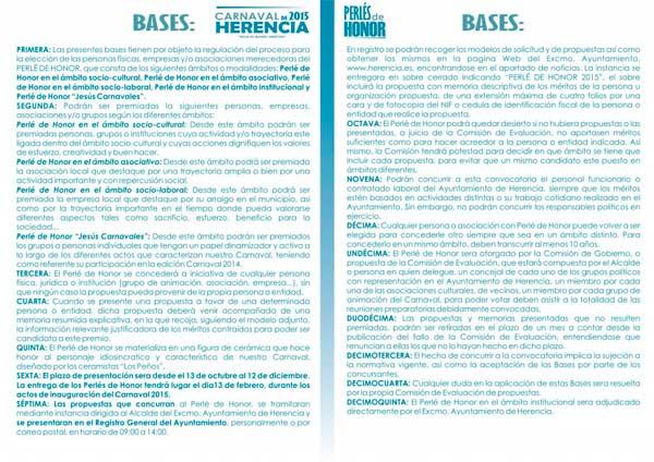 bases Perlés de Honor del Carnaval de Herencia 2015