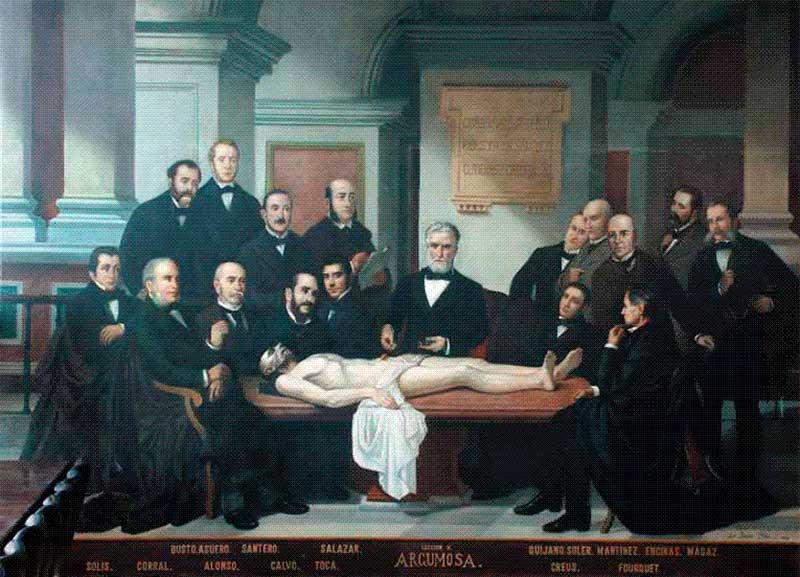 Don Diego Argumosa con otros cirujanos en 1885.