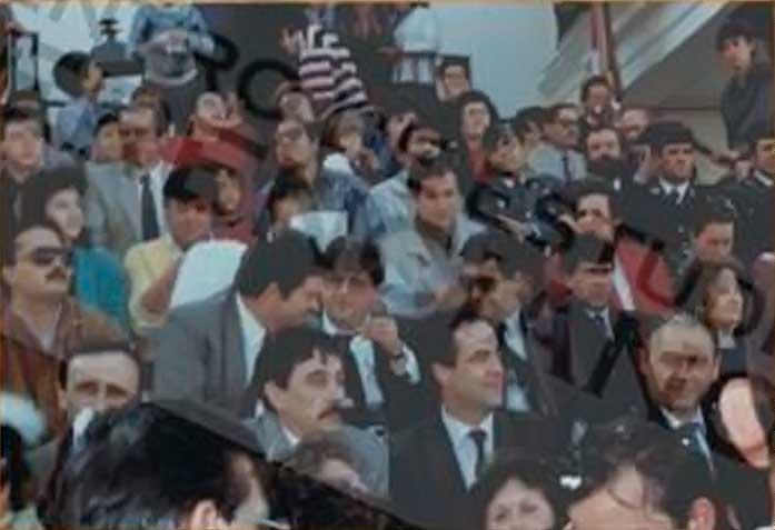 José Roselló y José Bono en el carnaval de Herencia de 1987